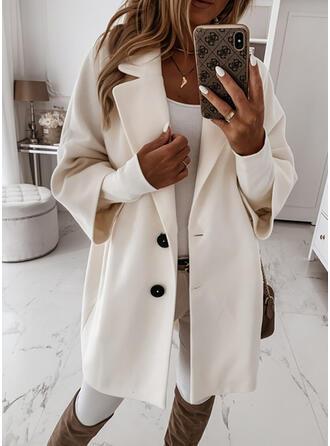 長袖 固体 ウールコート