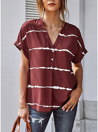 Striped V-Neck Short Sleeves Button Up Casual Blouses