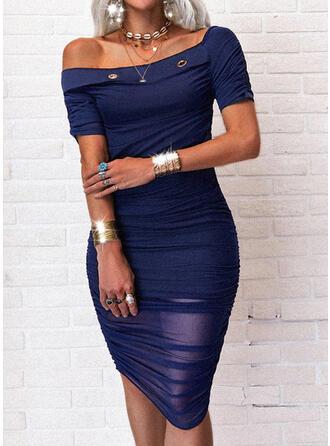固体 半袖 ボディコンドレス 膝丈 カジュアル ペンシル ドレス