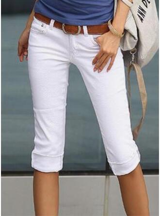 Sólido Capris Elegante shirred Pantalones