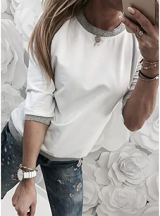 Lace Sequins Round Neck Long Sleeves Casual T-shirts