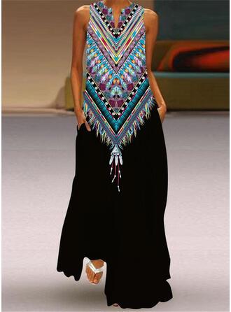 Print Sleeveless Shift Casual Maxi Dresses