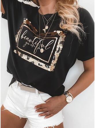 Figur Print Paljetter Rund-ringning Korta ärmar T-tröjor