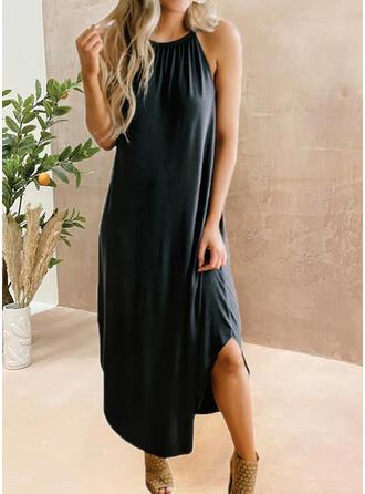 固体 ノースリーブ シフトドレス リトルブラックドレス/カジュアル ミディ ドレス