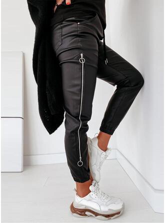 Solido Patchwork Sportivo Pelle Vintage Pantaloni