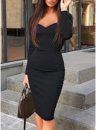 Sólido Manga Larga Ajustado Hasta la Rodilla Pequeños Negros/Elegante Vestidos