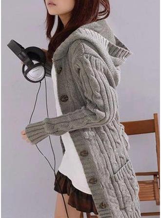Sólido Punto De Cable Punto Grueso Bolsillos Capucha Cárdigan