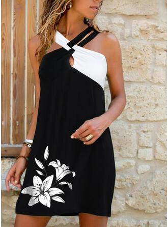 Impresión/Floral/Bloque de color Sin mangas Tendencia Sobre la Rodilla Casual/Vacaciones Vestidos