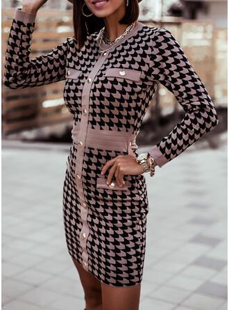 Minta Hosszú ujjú Testre simuló ruhák Térd feletti Hétköznapokra Sweter φορέματα
