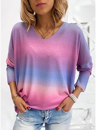 Lutning V-ringning Långa ärmar T-tröjor