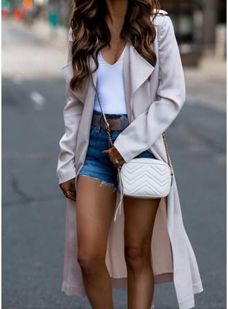 Long Sleeves Solid Trench Coats