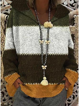 Bloque de Color Punto Grueso Capucha Suéteres