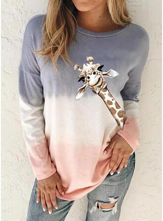 Estampado Animal Cuello redondo Manga Larga Casual Camisetas