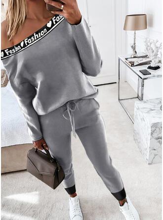 Hjerte Bogstav Print Casual Plus størrelse bluse & 2-delt tøj sæt