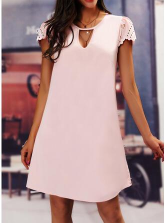 固体 半袖 シフトドレス 膝丈 カジュアル/エレガント チュニック ドレス