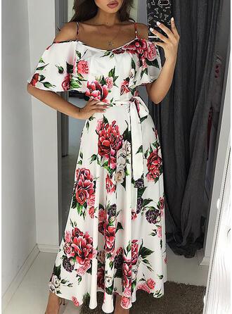 Impresión/Floral Mangas 1/2/Top sin hombros Acampanado Casual/Elegante Midi Vestidos