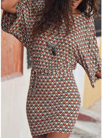 Impresión Mangas 3/4 Cubierta Sobre la Rodilla Casual Vestidos