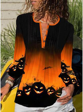 Print V-hals 3/4 Mouwen Dichtknopen Casual Halloween Overhemd