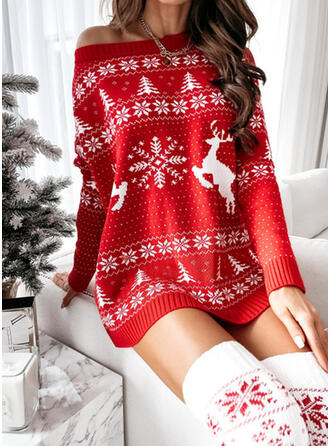 Navidad Impresión Venado Cuello Redondo Casual Vestido de Suéter