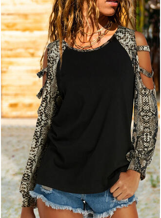 Zvířecí potisk Odhalená Ramena Dlouhé rukávy Neformální Bluze