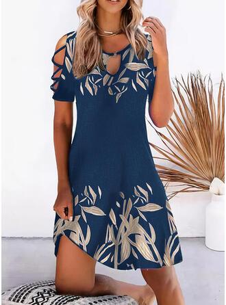 印刷 半袖 冷たい肩の袖 シフトドレス 膝上 カジュアル/休暇 チュニック ドレス