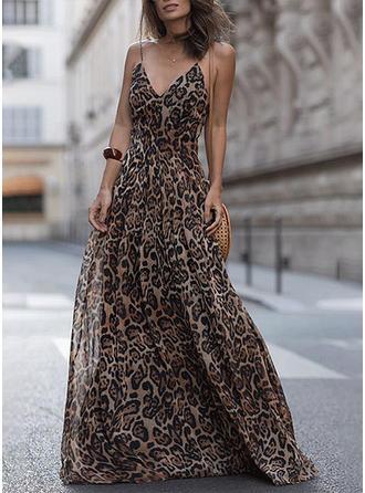 Leopardo Sin mangas Tendencia Vacaciones Maxi Vestidos