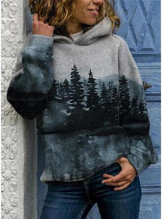 Impresión Bosque Manga larga con capucha