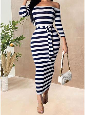 縞模様の 3/4袖 シースドレス カジュアル ミディ ドレス