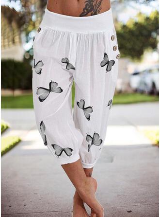 Impresión butterfly Capris Casual Vacaciones Tallas Grande Bolsillo Botones Pantalones Pantalones de salón