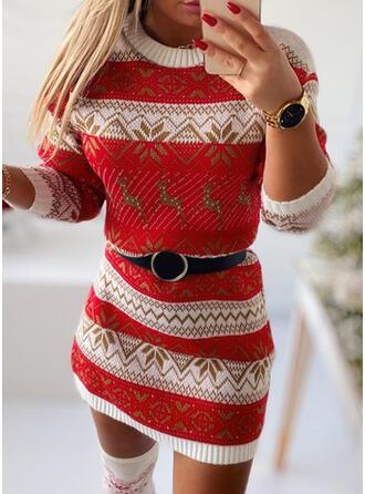 クリスマス 印刷/動物 Knit 長袖 ボディコンドレス 膝上 カジュアル セーター ドレス