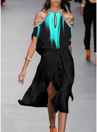 Print/Sequins Short Sleeves/Cold Shoulder Sleeve A-line Skater Party Midi Dresses