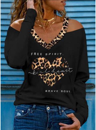 Leopardo Coração Estampado Carta Ombro Frio Manga Comprida Camisetas