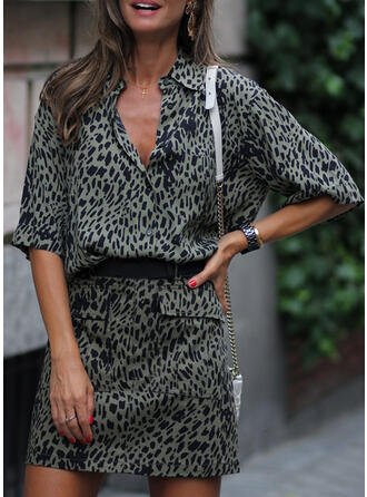 Leopard 1/2 Sleeves Sheath Above Knee Casual Dresses