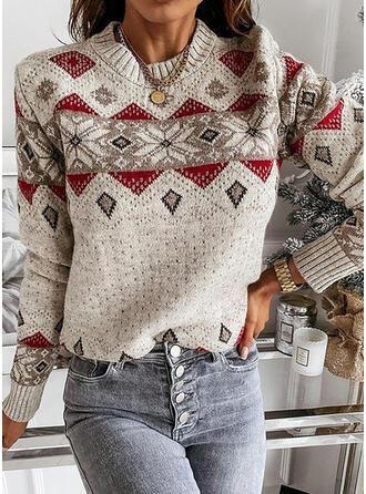 Impresión Geométrico Cuello Redondo Casual Suéteres