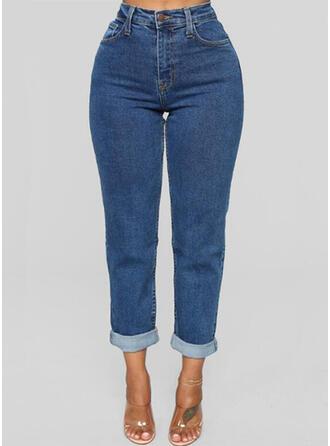 Solid Pockets Solid Denim Denim & Jeans
