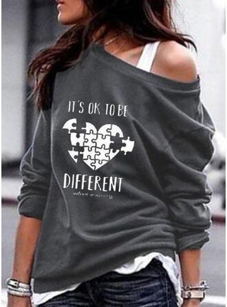 Inmprimé Cœur One Shoulder Manches longues Sweat-shirts