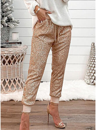Sequins Plus Size Casual Sporty Lounge Pants