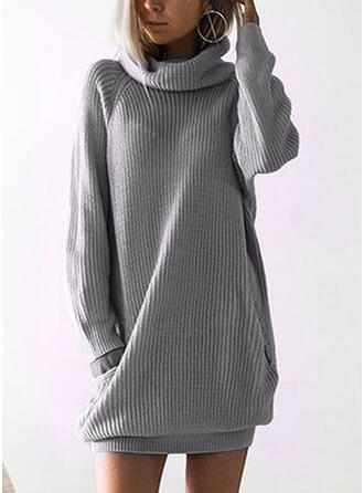 Sólido Bolsillos Cuello De Tortuga Vestido de Suéter