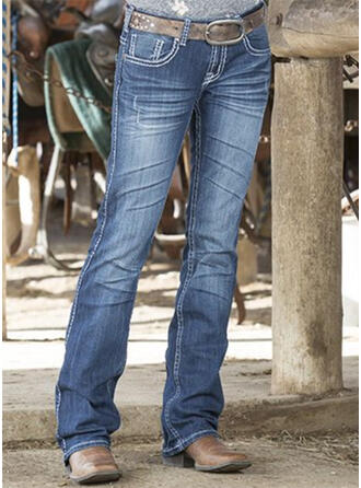 Sólido Jean Grandes Casual Vintage Tamanho positivo Bolso Jeans
