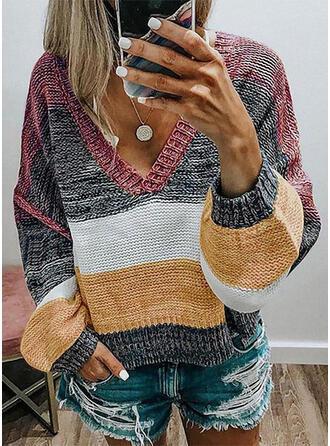 Blok Kolorów Żebrowany Dekolt w kształcie litery V Casual Swetry