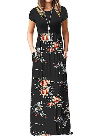 Print/Floral/Patchwork Short Sleeves A-line Casual Maxi Dresses