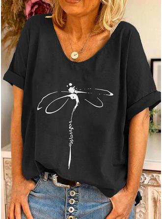 Animaliska Tryck Figur Rund-ringning Korta ärmar T-tröjor