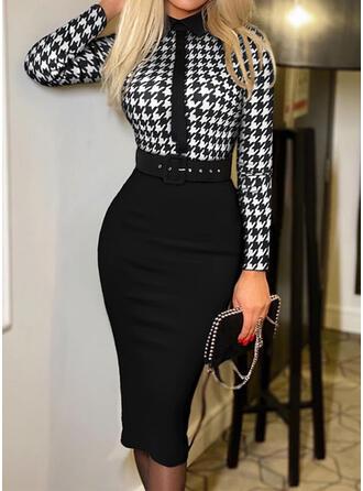 Plaid Long Sleeves Bodycon Knee Length Elegant Pencil Dresses