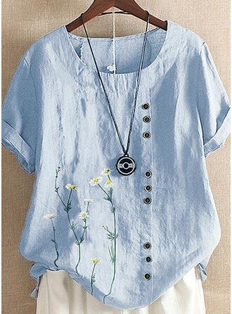 Impresión Floral Cuello redondo Manga corta Casual Blusas
