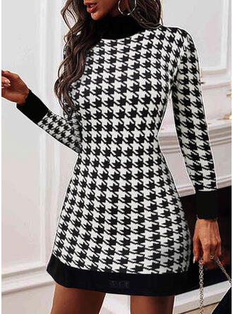 Print/Plaid Long Sleeves Sheath Above Knee Elegant Dresses