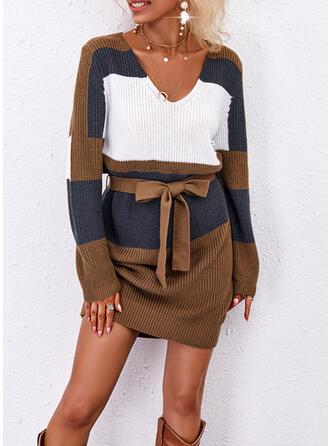 Trozos de color Cuello en V Casual Vestido de Suéter