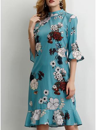 Impresión/Floral Mangas 1/2 Tendencia Hasta la Rodilla Casual/Elegante Vestidos
