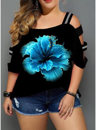 Blumen Druck Schulterfrei 3/4 Ärmel Lässige Kleidung Große Größen Blusen