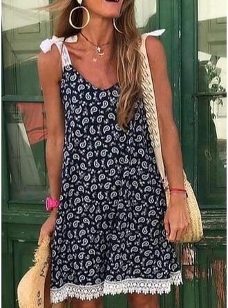 Encaje/Impresión Sin mangas Tendencia Sobre la Rodilla Casual/Vacaciones Vestidos