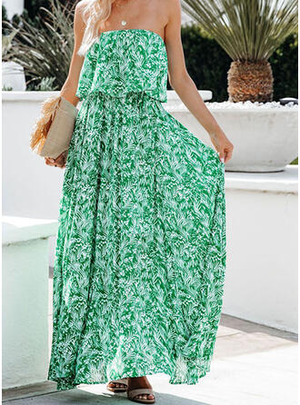 Print Sleeveless A-line Casual/Vacation Maxi Dresses